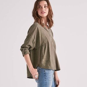 Lucky Brand Woven Gauze Mixed Henly Top
